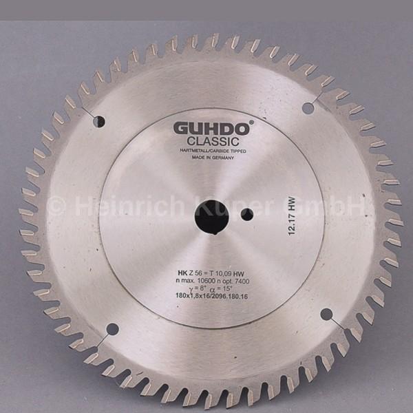 HW-Kreissägeblatt 180X1,8X16mm Z=56 WZ 2096.180.16 Hartmetall bestückt, Wechselzahn, Einsatz auf s